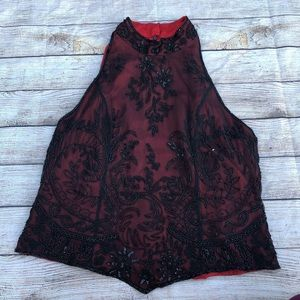 NWT Adrianna Papell Beaded Halter Red Evening Top